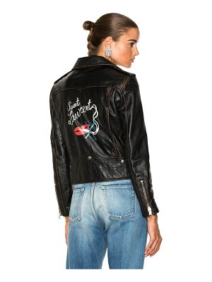 Saint Laurent Smoking Large Lips Motorcycle Jacket