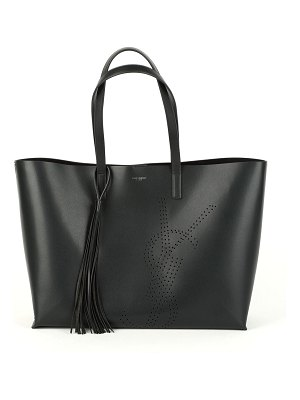 Saint Laurent Smooth Leather YSL Perforated Shopping Tote Bag