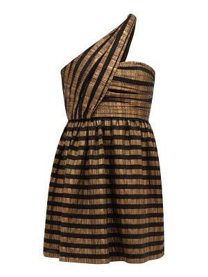 Saint Laurent one-shoulder striped lamé silk-blend dress