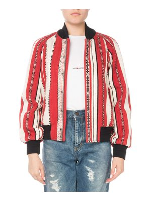 Saint Laurent Striped Wool Bomber Jacket