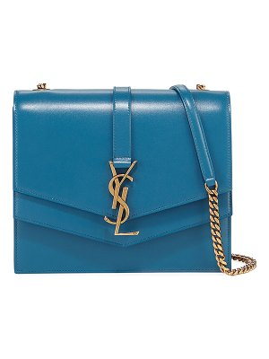 Saint Laurent Sulpice Medium YSL Monogram Leather Triple V-Flap Crossbody Bag