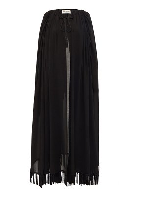 Saint Laurent tassel-fringed long crepe cape