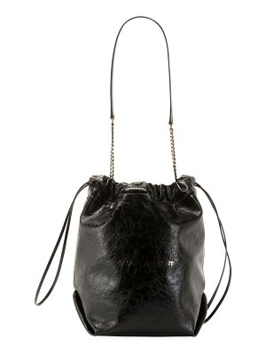 Saint Laurent Teddy Large Crinkle Leather Drawstring Bucket Bag