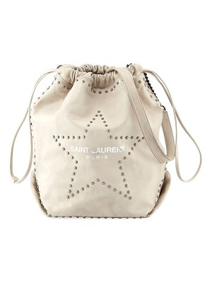 Saint Laurent Teddy Large Star-Stud Drawstring Bucket Bag