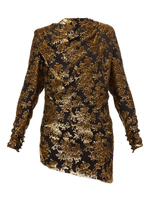 Saint Laurent tie-back floral tinsel-devoré mini dress