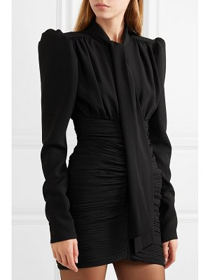 Saint Laurent tie-front ruched crepe mini dress