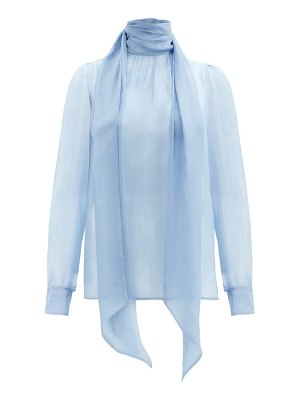 Saint Laurent tie-neck silk-chiffon blouse