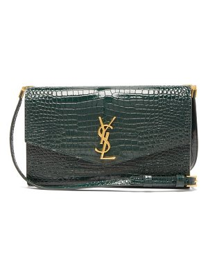 Saint Laurent uptown crocodile-effect leather cross-body bag