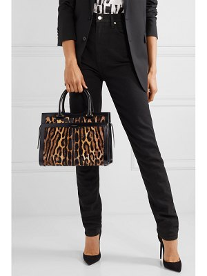 Saint Laurent uptown east west medium leopard-print calf hair and leather tote