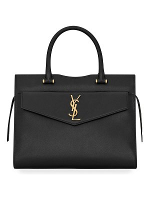 Saint Laurent Uptown Medium Grain de Poudre Satchel Bag w/ Clutch