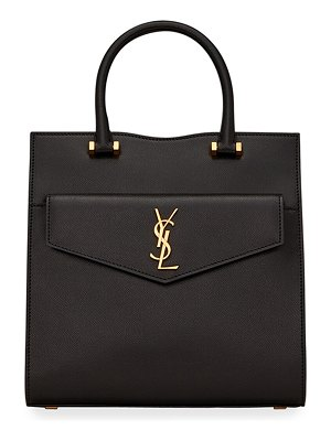 Saint Laurent Uptown Small YSL Grain de Poudre Satchel Bag