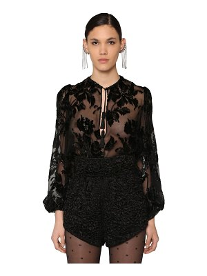 Saint Laurent Velvet chiffon devoré shirt