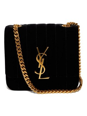 Saint Laurent vicky small quilted velvet cross body bag