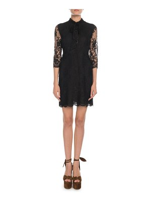 Saint Laurent Vintage-Lace 3/4-Sleeve Dress