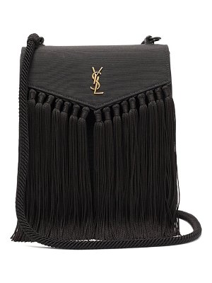 Saint Laurent ysl-plaque tasselled leather satchel