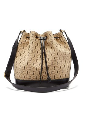 Saint Laurent ysl-print canvas bucket bag