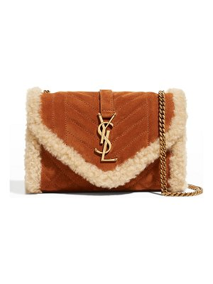 Saint Laurent YSL Quilted Suede Shearling Chain Crossbody Bag