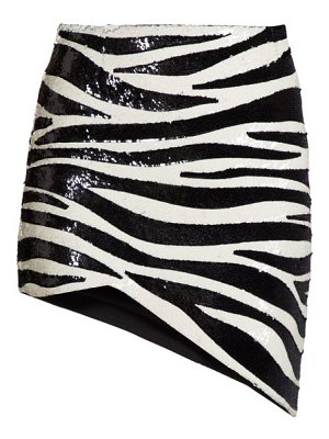 Saint Laurent zebra-sequinned asymmetric mini skirt