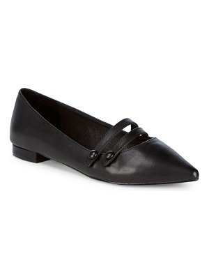 Saks Fifth Avenue Buttoned Strap Leather Flats