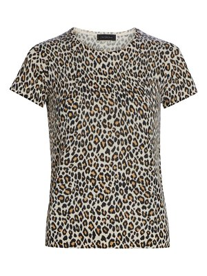 Saks Fifth Avenue collection animal-print cashmere short-sleeve top