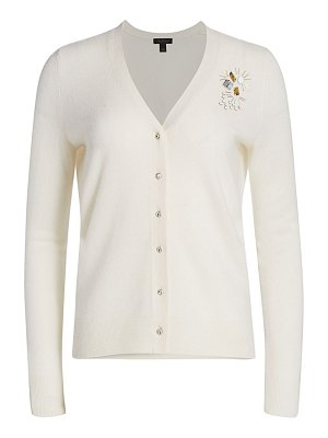 Saks Fifth Avenue collection cashmere embellished boyfriend cardigan