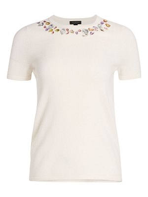 Saks Fifth Avenue collection cashmere embellished short sleeve sweater