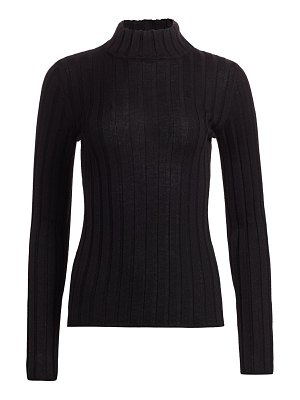 Saks Fifth Avenue collection wide rib-knit mockneck wool sweater