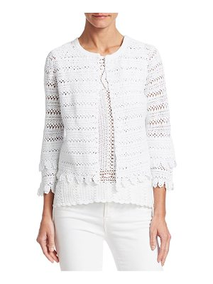 Saks Fifth Avenue collection crochet cotton knit cardigan