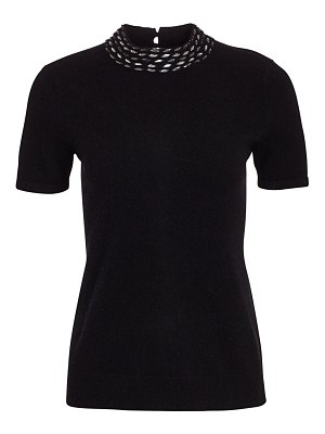 Saks Fifth Avenue embellished collar cashmere top