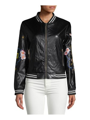 Saks Fifth Avenue Embroidered Faux-Leather Bomber Jacket