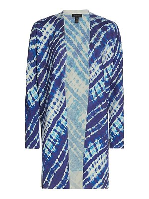 Saks Fifth Avenue collection tie dye open silk & cashmere duster cardigan