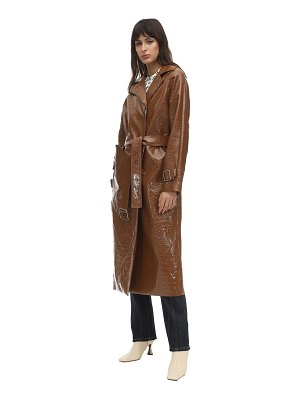 SAKS POTTS Croc faux patent leather trench coat