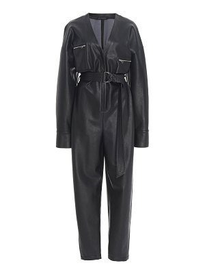 Sally Lapointe belted faux leather tapered jumpsuit size: 14