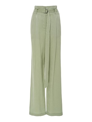 Sally Lapointe snake-effect belted crepe de chine wide-leg pants size: