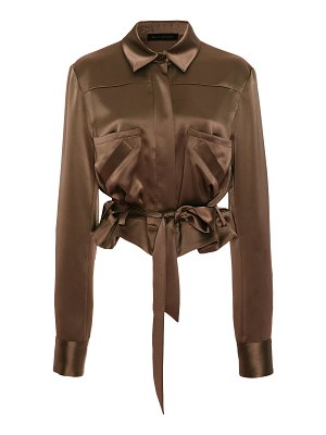 Sally Lapointe cropped belted satin blouse size: 8