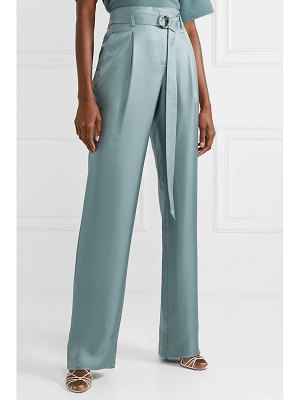 Sally Lapointe belted silk-satin twill wide-leg pants