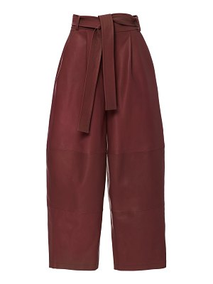 Sally Lapointe belted leather wide-leg pants size: 10