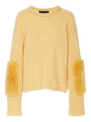 Sally Lapointe paneled shearling and cashmere-blend sweater size: m/l