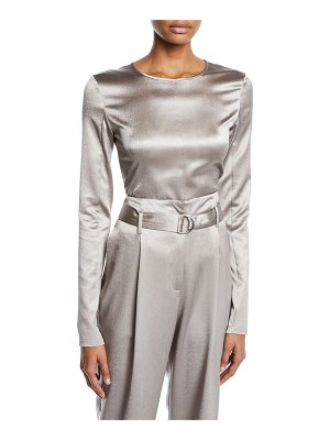 Sally Lapointe Crewneck Long-Sleeve Fitted Metallic Stretch-Silk Top