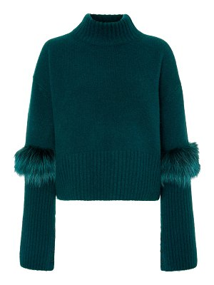 Sally Lapointe exclusive fur-trimmed cashmere and silk-blend sweater