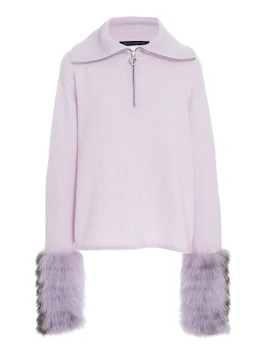 Sally Lapointe fur-trimmed silk-cashmere sweater size: m/l