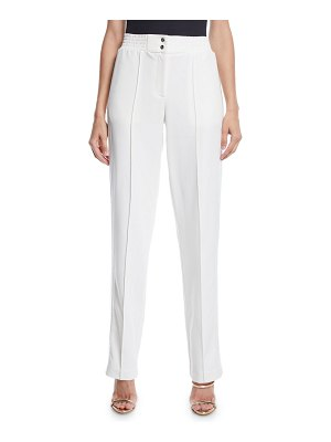 Sally Lapointe High-Rise Straight-Leg Track Pants w/ Sequin Tux-Stripe