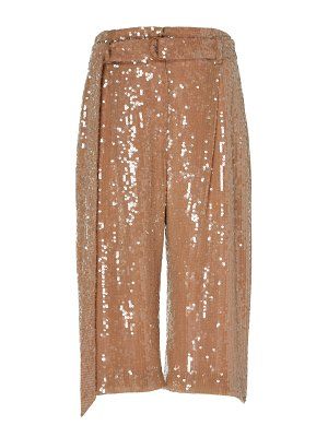 Sally Lapointe cropped sequined crepe straight-leg pants