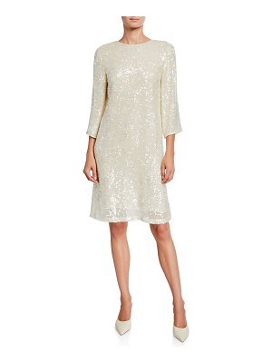 Sally Lapointe Sequined Jersey Shift Dress