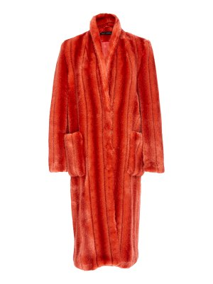 Sally Lapointe striped faux fur tailored coat size: 2