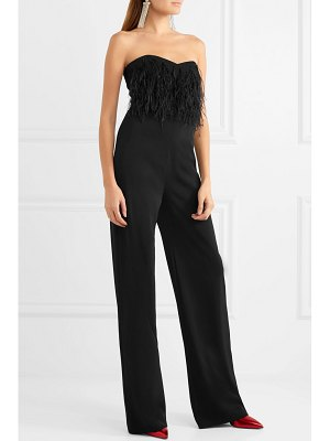 Saloni aurelie feather-trimmed cady jumpsuit