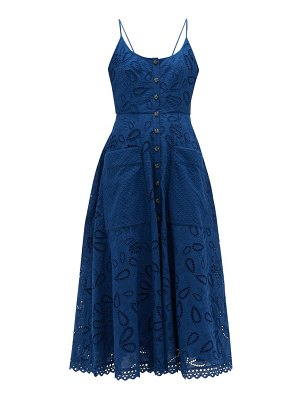 Saloni fara cotton broderie anglaise midi dress