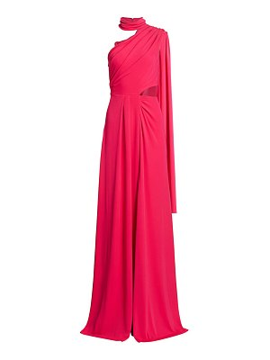 Saloni honey asymetrical high-neck gown