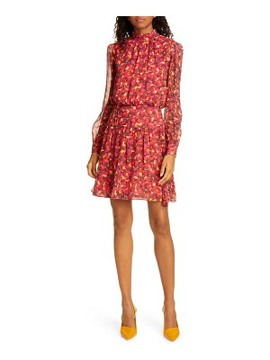 Saloni isabel floral silk long sleeve minidress