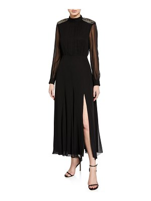 Saloni Jacqui Embellished Long-Sleeve Slit Dress